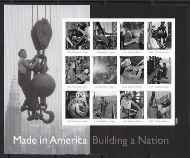 US (2013)- BUILDING A NATION IMPERFORATED SHEET OF 12v- #4801