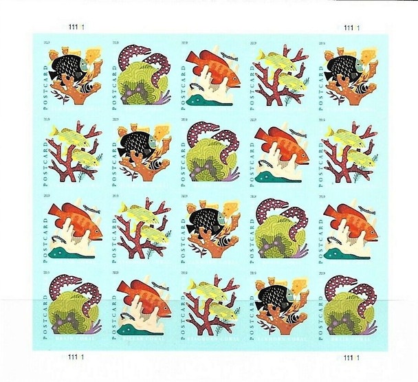 US (2019)- Coral Reef & Fish (Postcard Rate) Sheet of 20- #5366a