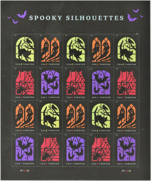 US (2019)- Halloween Spooky Silhouettes Sheet of 20v
