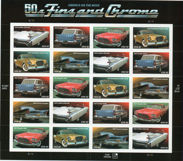 US (2008)- 1950'S FINS AND CHROME (CARS) SHEET OF 20-#4357A