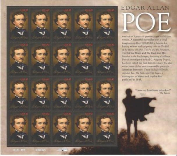 US (2008)- EDGAR ALLEN POE (POET, NOVELIST) #4377- SHEET OF 20