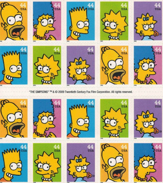 """US (2009)-""""THE SIMPSONS"""" CARTOON- SHEET OF 20- #4403A"""