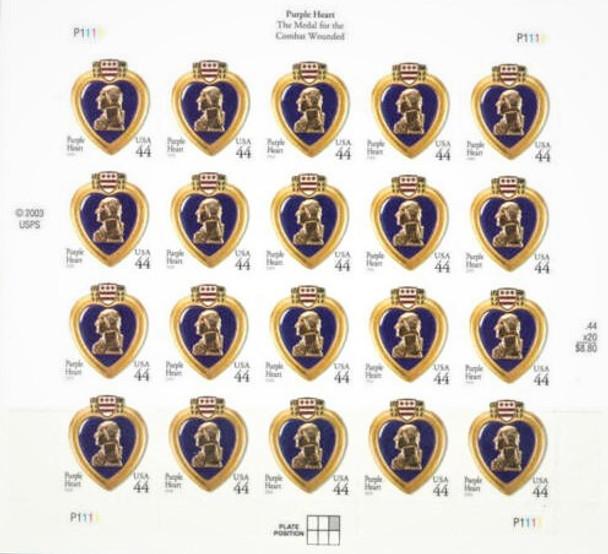 US (2009)- PURPLE HEART MEDAL (44c) SHEET OF 20-#4390