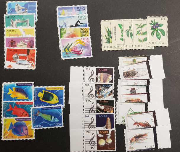 ARUBA 2016-19 Issues Includes Insects, Music, Fish and Flora OUR ORIGINAL RETAIL $80