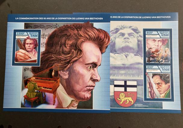 CHAD (2019)BEETHOVEN Sheet of 4v & souvenir sheet