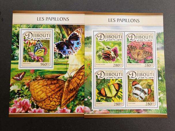 DJIBOUTI (2019) Butterfly Deluxe Sheet & Souvenir Sheet