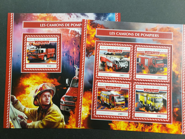 DJIBOUTI (2015) Fire Trucks  Deluxe Sheet & Souvenir Sheet