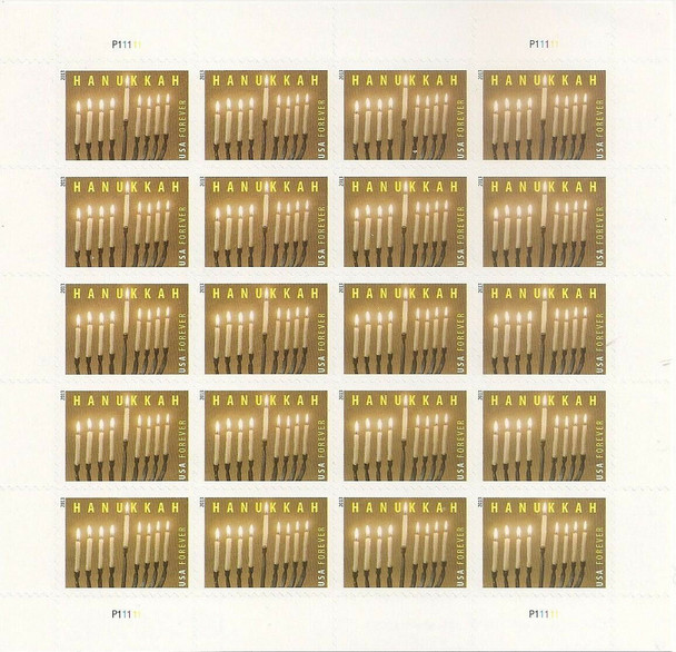 US (2013)- Hanukkah Sheet of 20 (Candles & Menorah) #4824