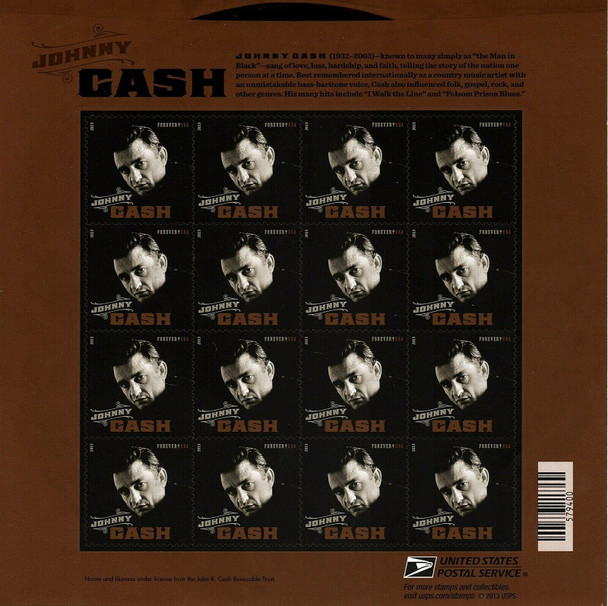 US (2013)  Johnny Cash (Singer) Sheet of 16- #4789