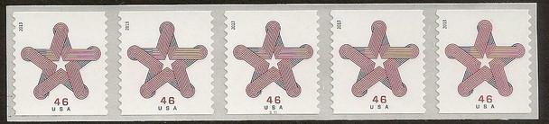 US (2013)- Patriotic Star Ribbon Coil Strip of 5- #4749