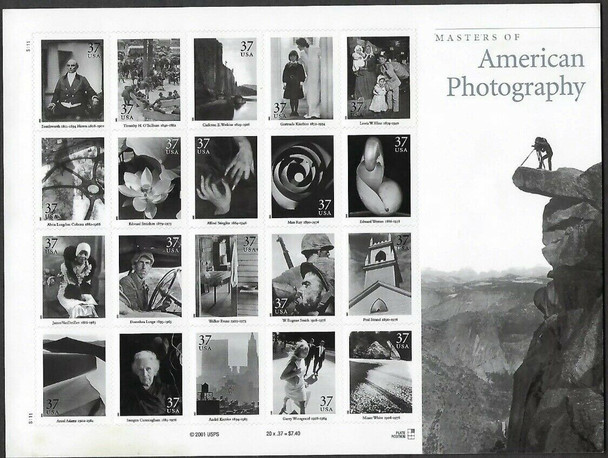 US (2002)- Masters of American Photography Sheet of 20v-#3649