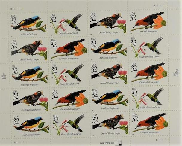 US (1998)- TROPICAL BIRDS- SHEET OF 20 #3225a