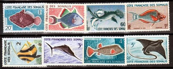 SOMALI COAST (1959)- Fish/Shark/Ray (8v)- #275-82 MNH