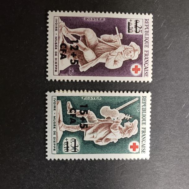 REUNION (1967) Semi Postal, Red Cross , Musical Instrument  (2v)