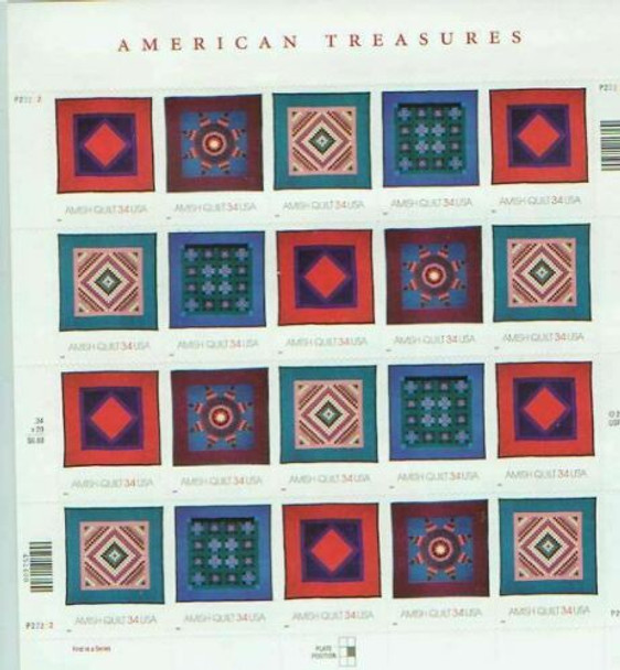 US (2005)- SCOTT 3524-27 AMISH QUILTS AMERICAN TREASURES -20 STAMP SHEET
