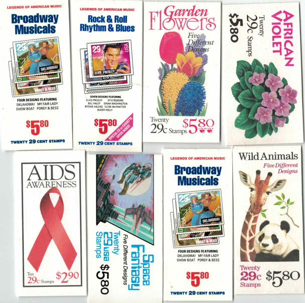 US - 8 GREAT COMMEMORATIVE STAMP BOOKLETS OF 1990'S! BRODWAY MUSICALS, ROCK & ROLL, SPACE FANTASY!!