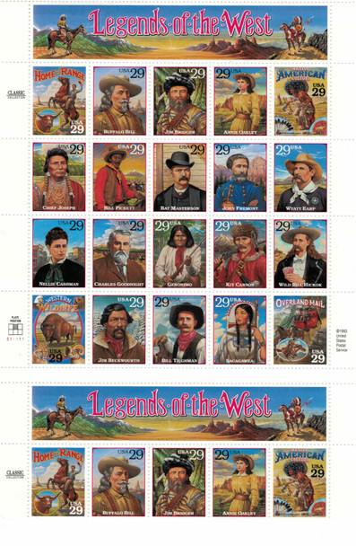 US (1994)- LEGENDS OF THE WEST-SHEET OF 24 FROM PRESS SHEET