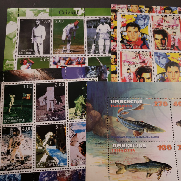 TAJIKISTAN Collection Of 40 Souvenir Sheets, Topicals, Celebrities , Motorbikes, Space, Fish and Other