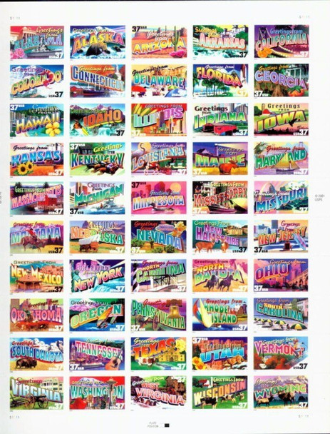 US (2002): 37c Greetings From America Sheet of 50- #3745a+50 State Postcard Collection Set!