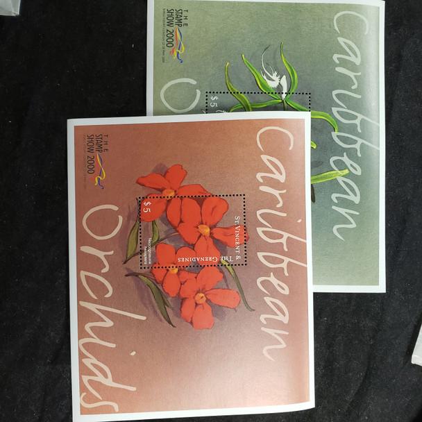 ST VINCENT (2000) Orchids Of the Caribbean Sheet Set.(2)