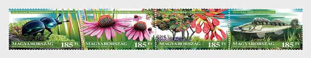 HUNGARY  (2020)-  FLORA & FAUNA STRIP OF 4v- BEETLE, MEDICINAL FLOWERS,,TREES,FISH