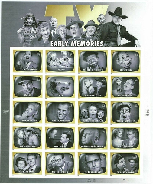 US (2008)- EARLY TV MEMORIES- #4414 SHEET OF 20- Lassie, Perry Mason, etc.