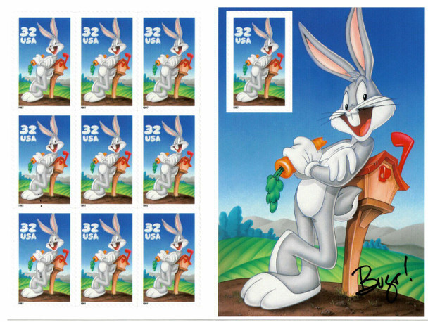 U.S.- 32c Bugs Bunny (1997) Sheet of 10 values #3137 w/Looney Tune Postcard Pack