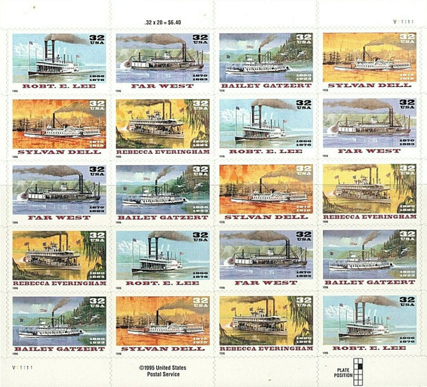 US (1996)- RIVERBOATS SHEET OF 20 #3095a