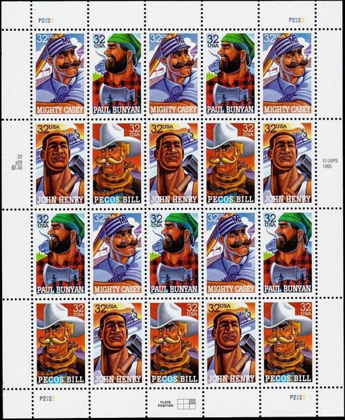 US (1996)- FOLK HEROES SHEET OF 20- #3086A-PAUL BUNYAN, MIGHTY CASEY, PECOS BILL, & JOHN HENRY