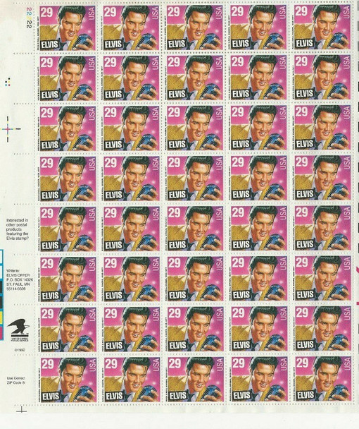 US- 1993 Elvis Presley  Complete Sheet of 40 (29c)- #2721