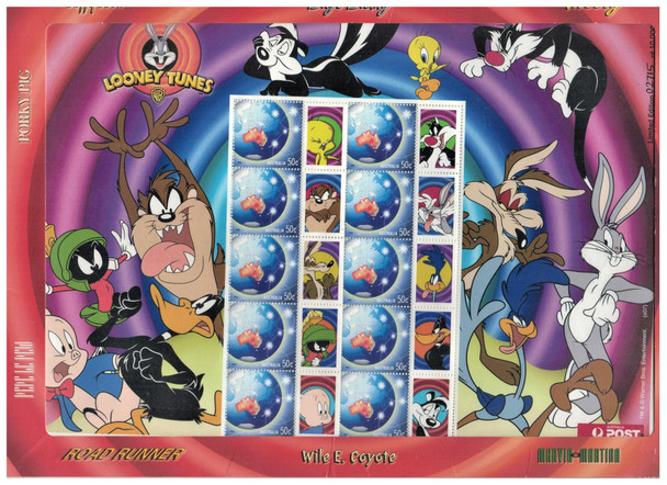 AUSTRALIA (1995)- LOONEY TUNES PERSONALIZED SHEET OF 10 STAMPS