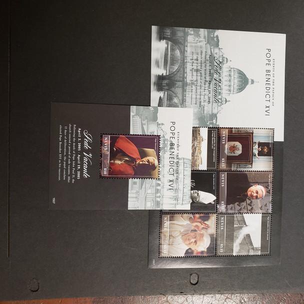 NEVIS (2017).Pope Benedict XVI sheet and SS LASTONE