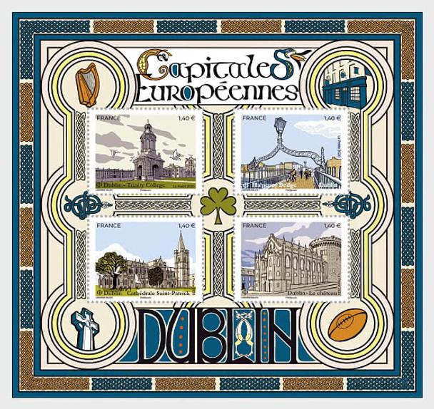 FRANCE (2020)- European Capitals Sheet of 4v- Dublin