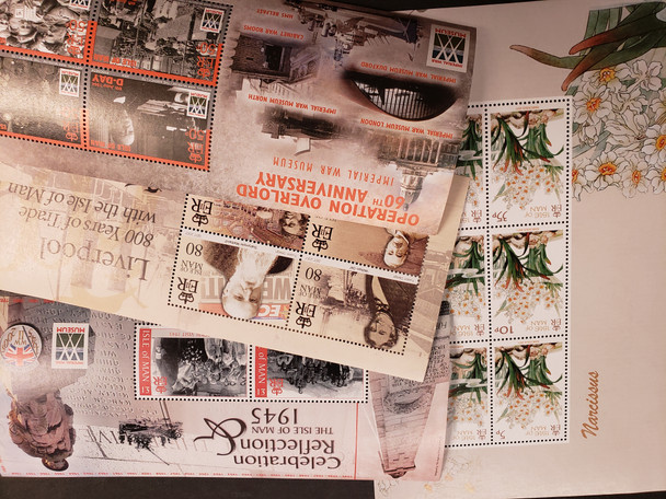ISLE OF MAN 4 Souvenir Sheets WWII, Flora , Trade, 1945n LAST ONE