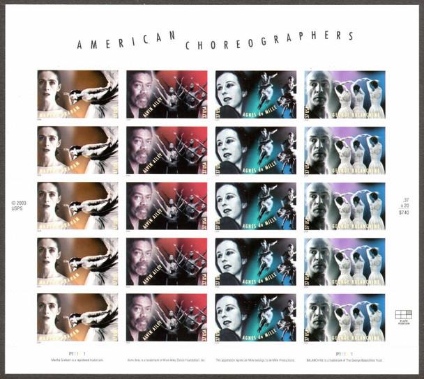 US (2004)- American Choreographers Sheet of 20- #3840-3