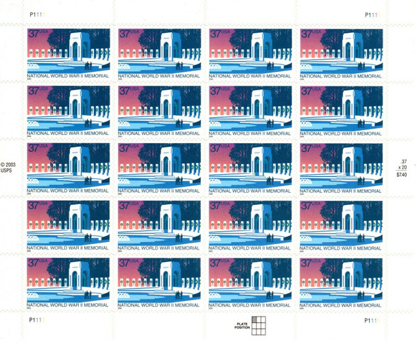 US (2004)- NATIONAL WORLD WAR II MEMORIAL SHEET- #3862