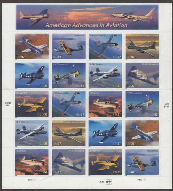 US (2005)- AMERICAN ADVANCES IN AVIATION SHEET OF 20- #3916-25