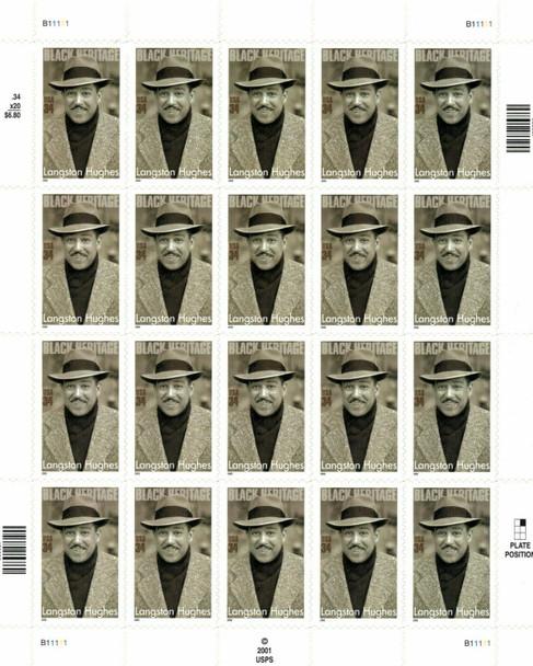 US (2002)- LANGSTON HUGHES , POET/NOVELIST #3557 SHEET