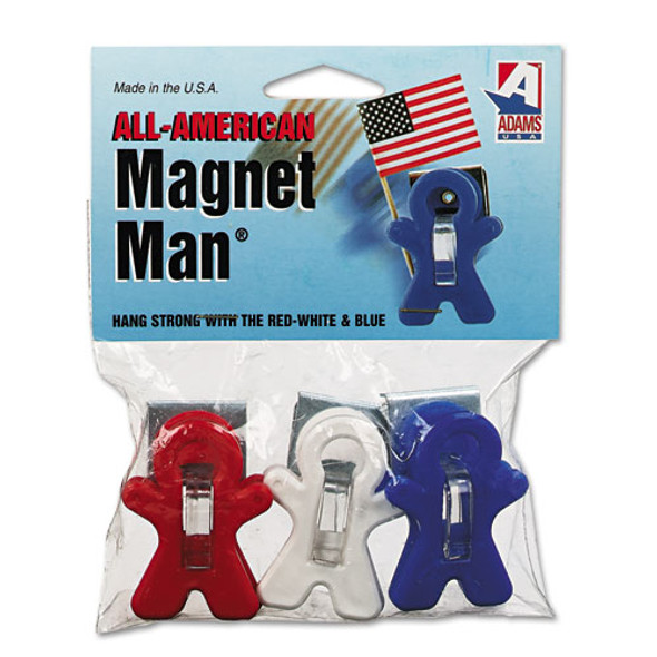 """All American Magnet Man, 0.25"""", Assorted Colors, 3/pack"""