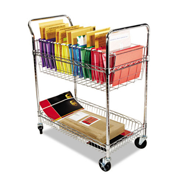 Carry-all Cart/mail Cart, Two-shelf, 34.88w X 18d X 39.5h, Silver