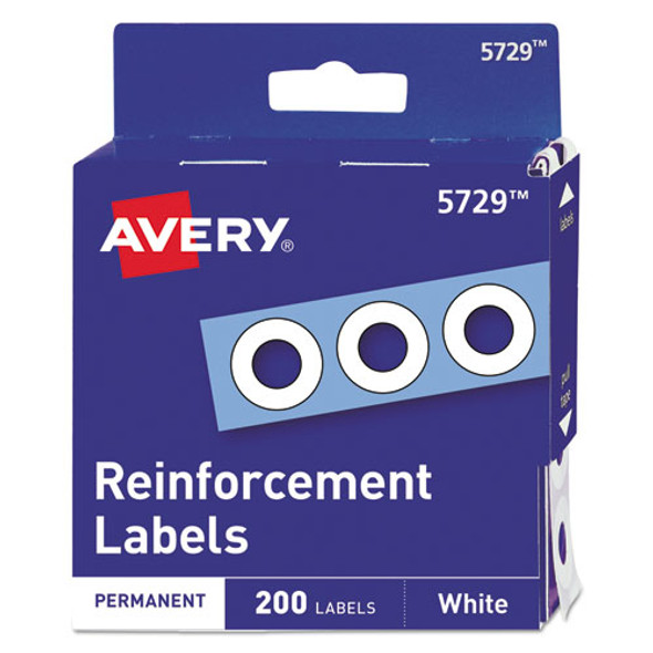 "Dispenser Pack Hole Reinforcements, 1/4"" Dia, White, 200/pack"