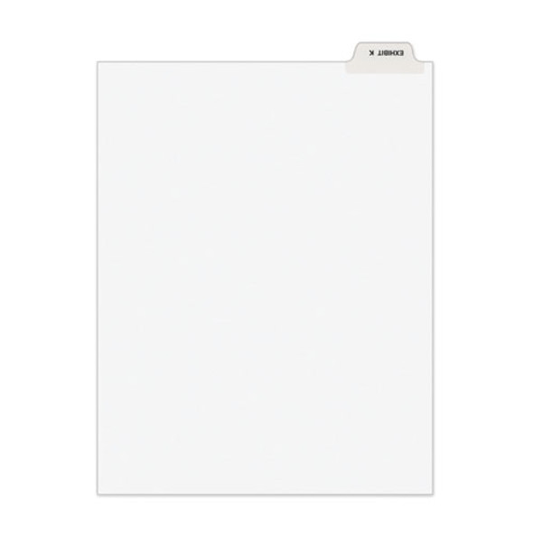 Avery-style Preprinted Legal Bottom Tab Divider, Exhibit K, Letter, White, 25/pk