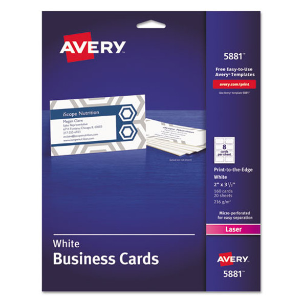 Print-to-the-edge Microperforated Business Cards With Sure Feed Technology, Color Laser, 2 X 3.5, Wht, 160/pk