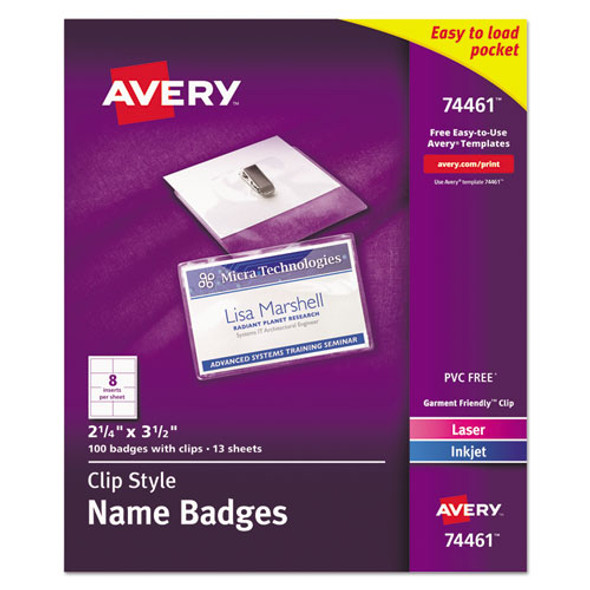 Clip-style Badge Holder With Laser/inkjet Insert, Top Load, 3.5 X 2.25, White, 100/box