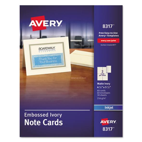 Embossed Note Cards, Inkjet, 4 1/4 X 5 1/2, Matte Ivory, 60/pk W/envelopes