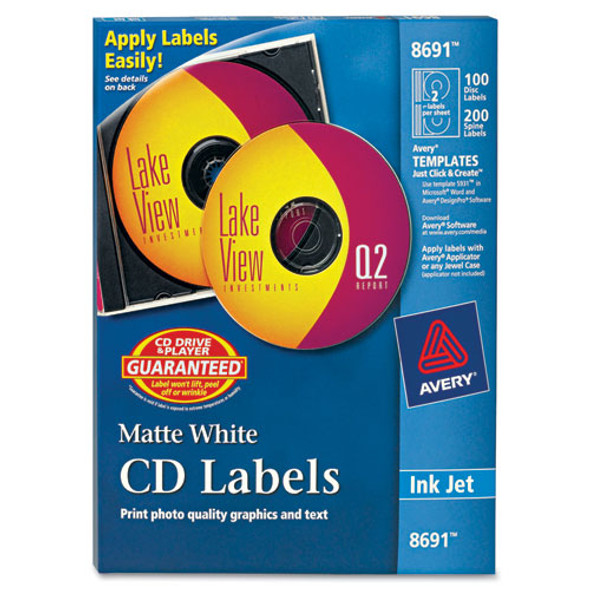 Inkjet Cd Labels, Matte White, 100/pack