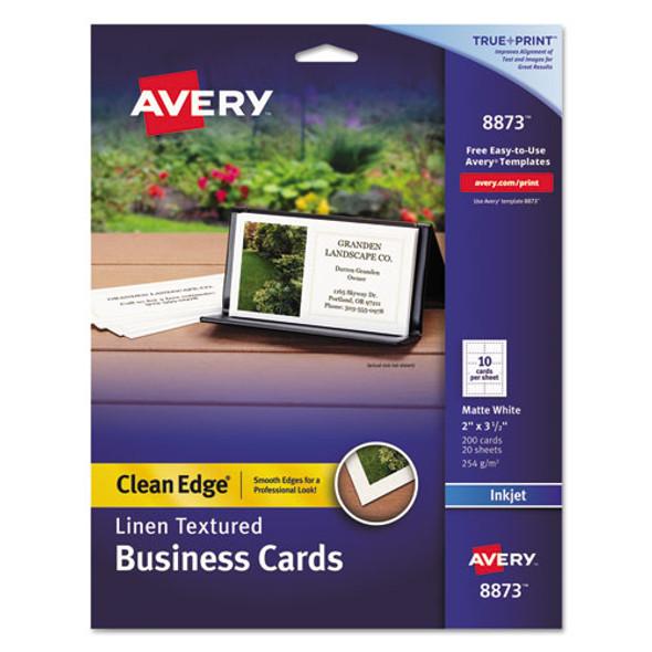Linen Texture True Print Business Cards, Inkjet, 2 X 3 1/2, Linen White, 200/pk