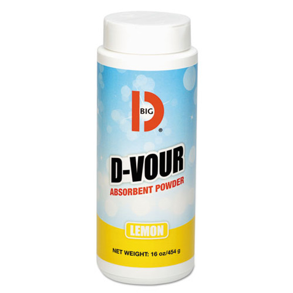 D-vour Absorbent Powder, Canister, Lemon, 16oz, 6/carton