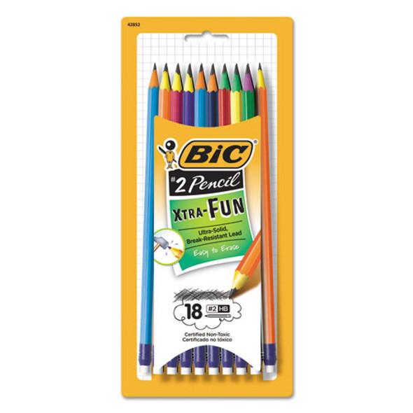 #2 Pencil Xtra Fun, Hb (#2), Black Lead, Assorted Barrel Colors, 18/pack