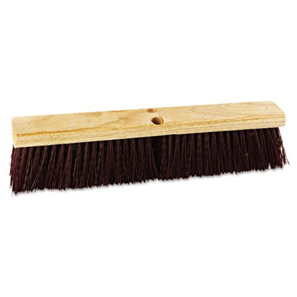 "Floor Brush Head, 18"" Wide, Maroon, Heavy Duty, Polypropylene Bristles"